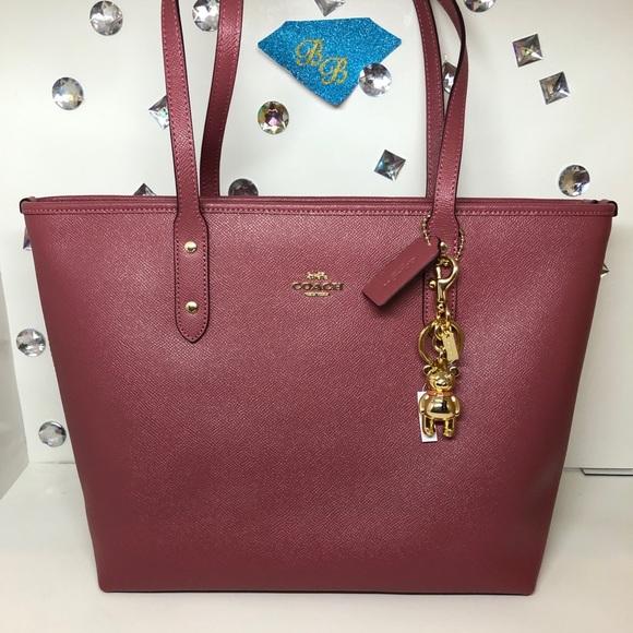 Coach Handbags - COACH CITY ZIP TOTE ROUGE RED + 3D BEAR BAG CHARM